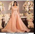 A-ligne Robe de mariage Coral Soirée Formelle Robes Dentelle À Manches Longues Robe De Festa 2016 Détachable Jupe robes de Soirée