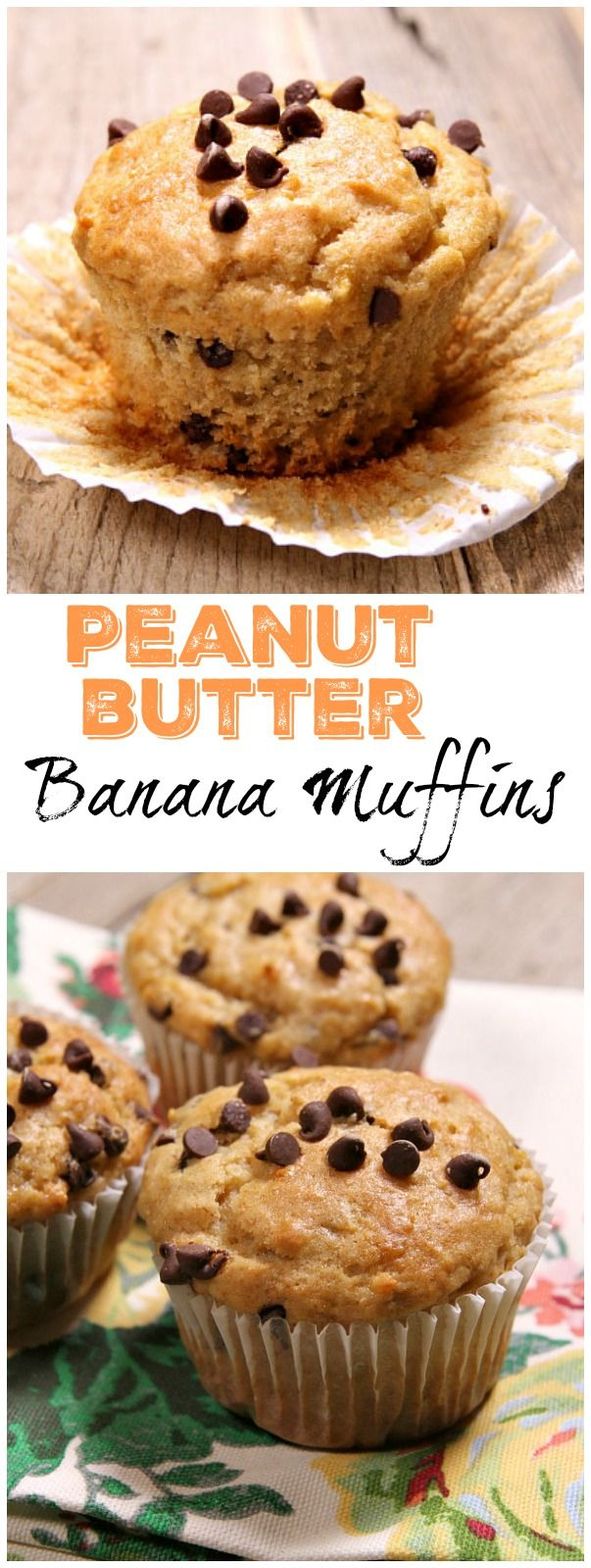 Peanut Butter Banana Muffins recipe with a sprinkle of chocolate chips!  Recipe from RecipeGirl.com.