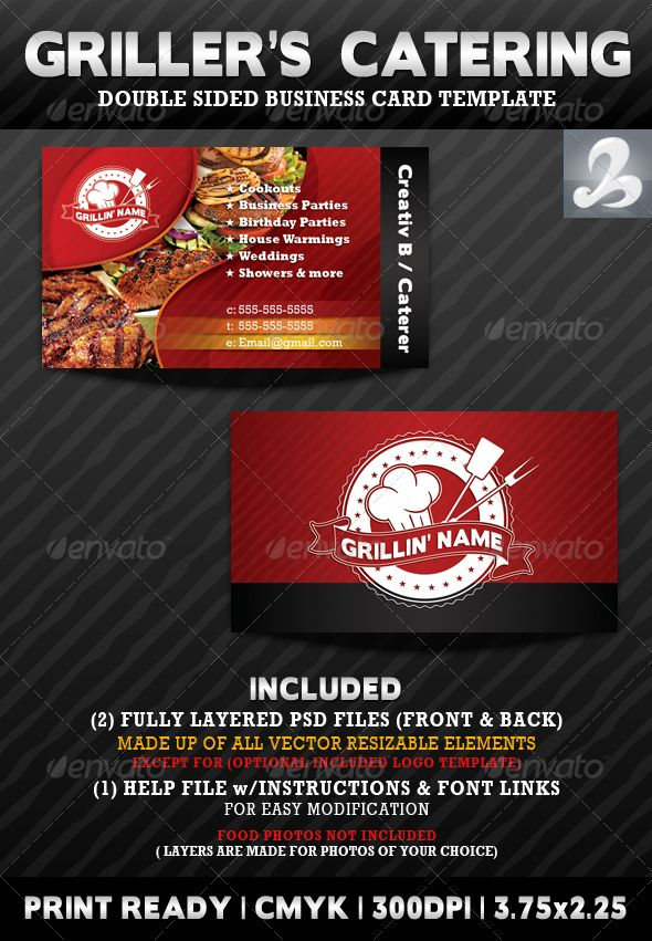 griller s catering business card templates industry specific