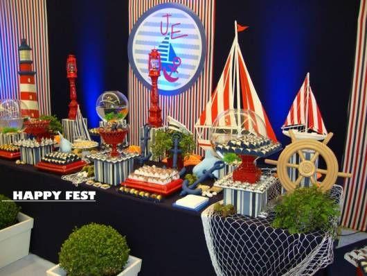 exemplo de decoração de festa ursinho marinheiro