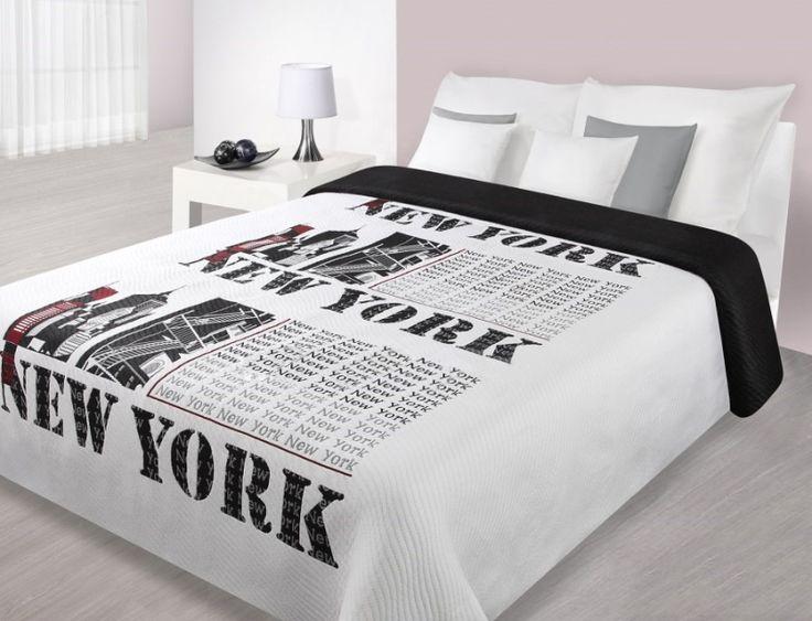 Prehozy na postele bielej farby s motívom New York