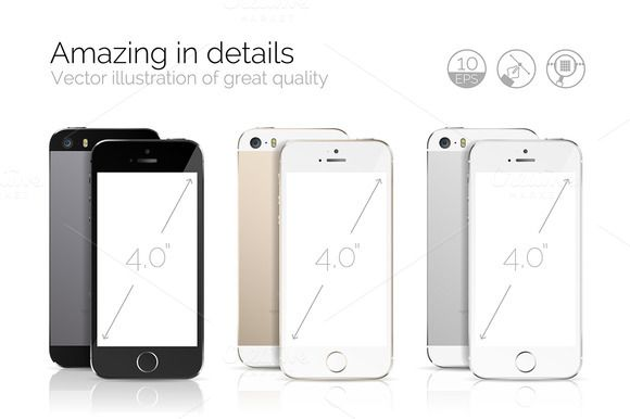 iPhone 5S detailed mockup Bundle Vector perfectly detailed illustration of new iPhone 5S( space Gray | Gold | Silver ) Everything is in one Illustrator EPS 10 file #mockup #iphone #iphone5 #mockupiphone, #mockupsiphone #mockups #iphone5mockups, #iphone5psd #iphone5psdmockups