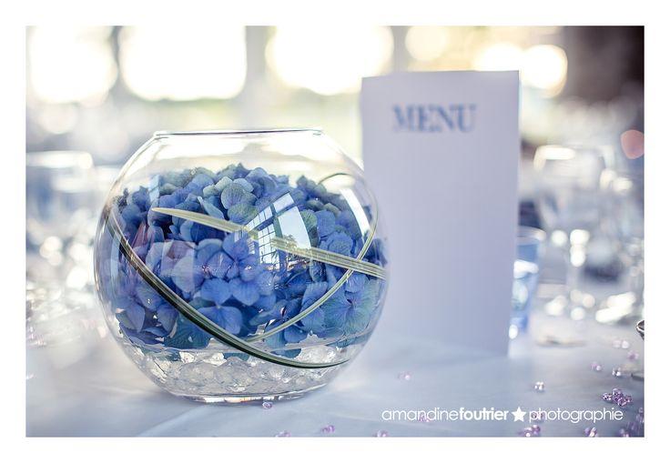 centre de table hortensia bleu mariage - Au Jardin d'Egly
