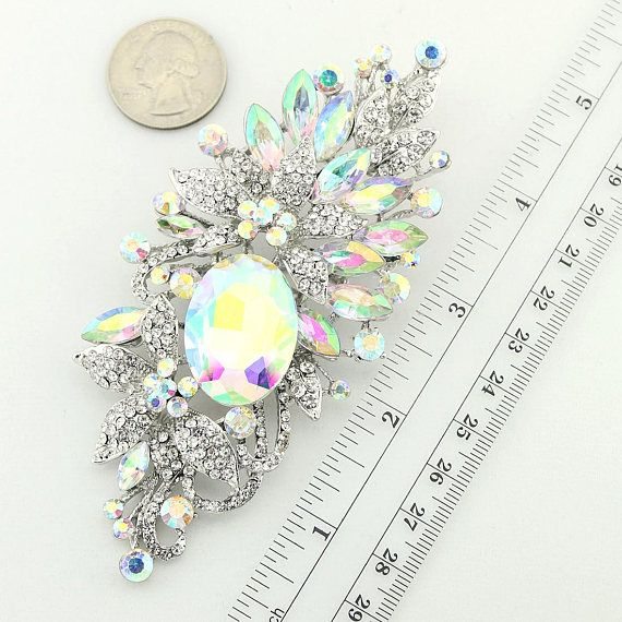 Gold Iridescent Brooches Iridescent Gold Broach AB Crystal Bridal Brooch Aurora Borealis Brooch AB Crystal Brooch Rainbow Broach