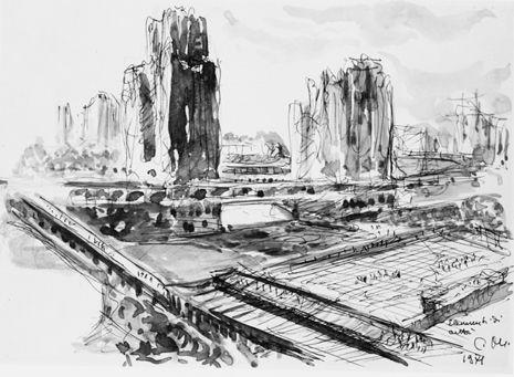 GIOVANNI MICHELUCCI disegni per la nuova città, Firenze (zona ponte vecchio), 1945