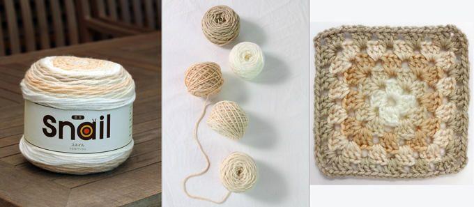 スネイル⑩ 各色を切り分けて玉にし、自在に編み分ければ、こんなに可愛い作品が完成します! 【使用色:シェルベージュ】 ハンズマンスタッフ作、大人用帽子。色を使い分けて、かわいい2タイプのニット帽が完成♪ 女性スタッフに人気の色です!