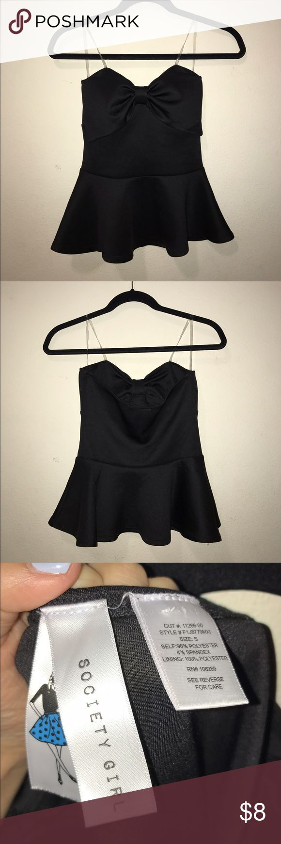 NWOT Strapless black peplum top with bow NWOT black bow peplum top!! Super chic and very flattering!! There are no flaws and it is strapless so it is perfect for a night out or casual but chic wear. Very slimming too. The brand is society girl. Size small, and you might wanna be either b or c cup to fill this out!! Beautiful material. Only selling because I realized it doesn't fit with anything in my wardrobe :( Price negotiable, only reasonable offers, wanna sell asap society girl Tops…