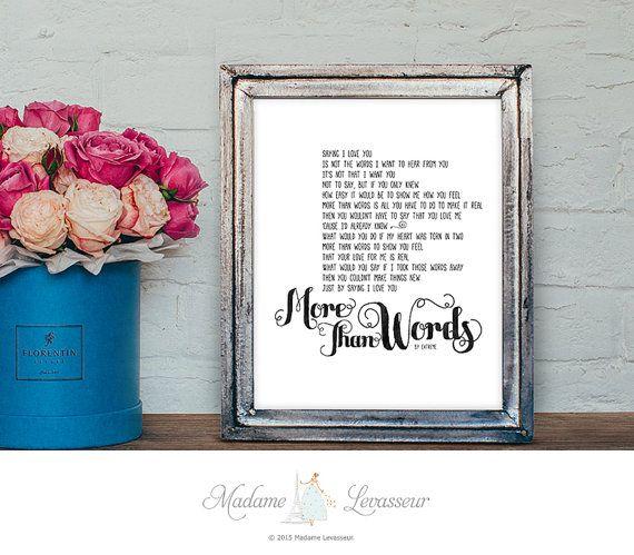 More Than Words by Extreme printable lyric printable love song Valentine printable love art prints wall decor home decor printable art