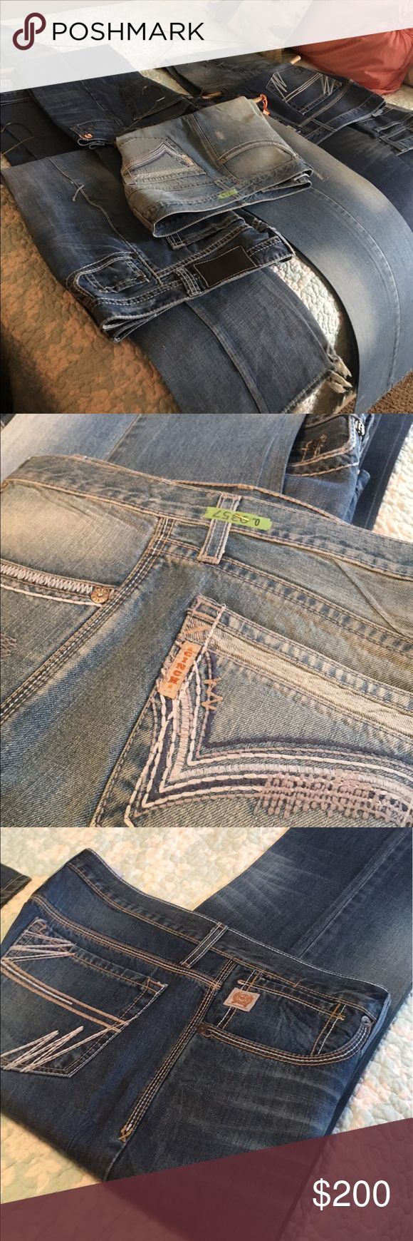 Lot of men's Cinch, Lucky, Rock and Roll Jeans I have 8 pairs or men's extra heavy starched jeans. They are all in good condition, most of them in excellent condition. I would like to sell them all at once in a lot instead of piecing them out. All great jeans, just trying to down size. Open to offers. Cinch Jeans Bootcut