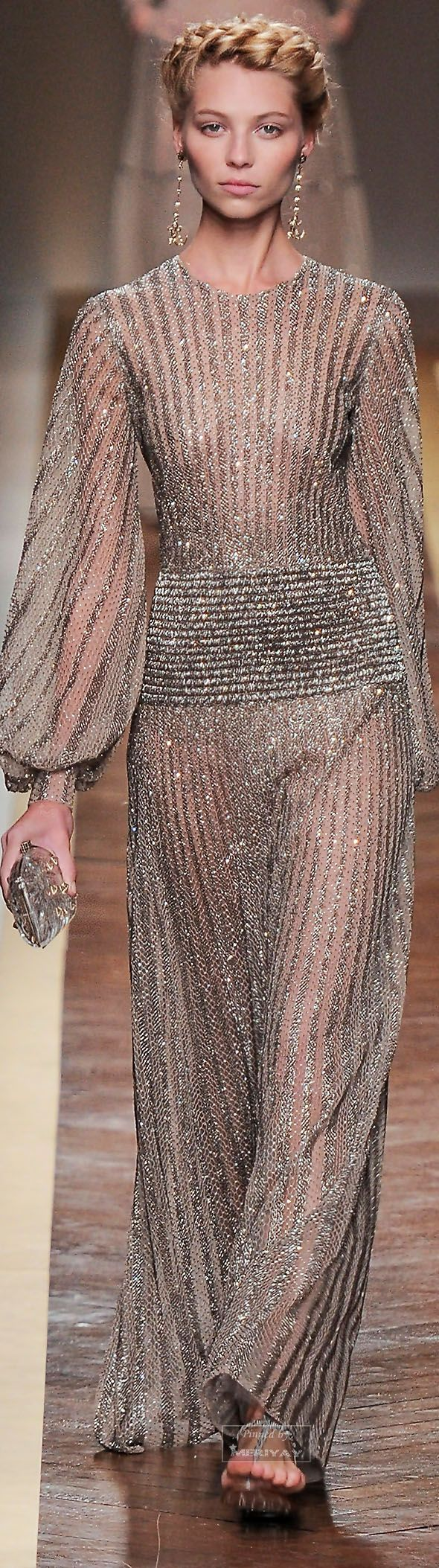 Valentino ~ Spring Sheer Metallic Gown, Nude 2012