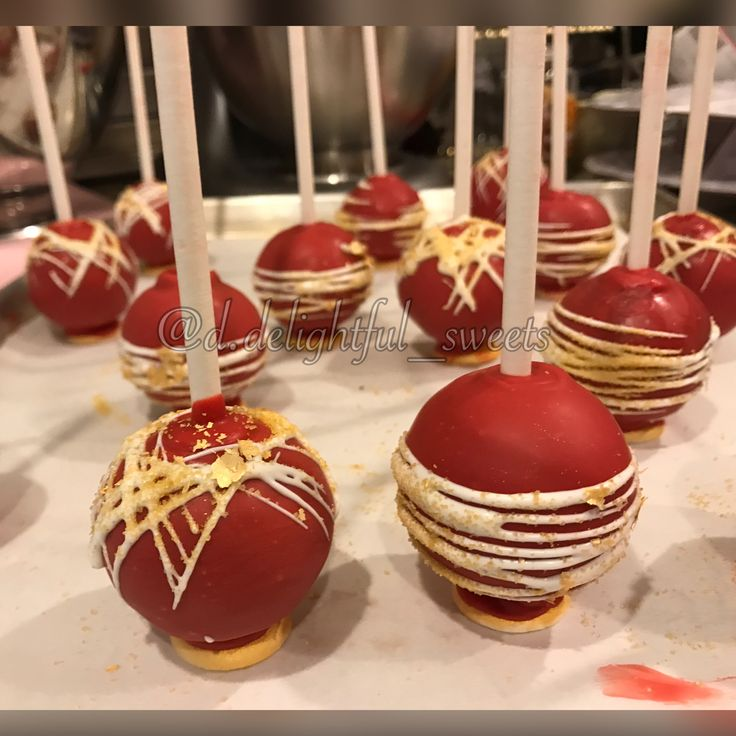 Chocolate Fudge Cake Pops Red And Gold Cake Pops Love