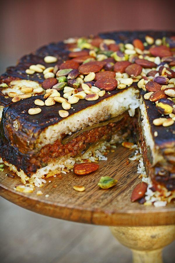 Lebanese Eggplant Cake: colorful, aromatic and nourishing (gf, vegan).