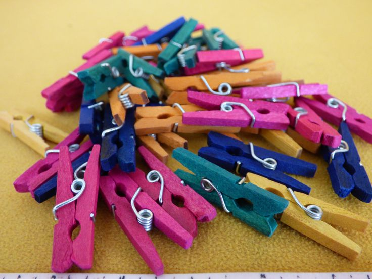 42 Colorful Wooden Clothespins - Solid Wood - Metal Hinge - Clean Working Condition - Suitable for Crafting - Upcycle Assemblage Arts - Chic by ChicAvantGarde on Etsy