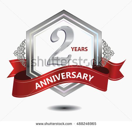 2 years anniversary hexagonal style logo with silver combination red ribbon. anniversary logo for celebration, birthday, wedding, party. anniversary logo 2nd
