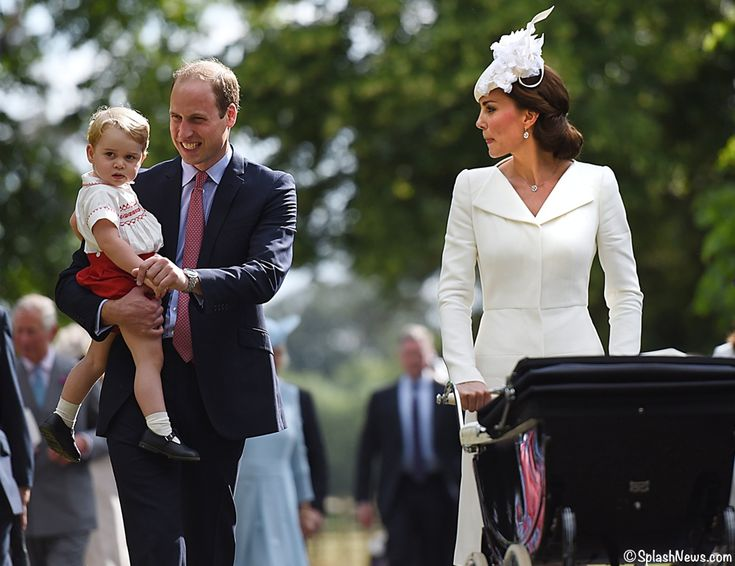 Prince William and Kate with George and Charlotte on her christening day