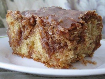 Brown Sugar and Cinnamon Honeybun Cake. Uses yellow cake mix plus add-ins. Yum!