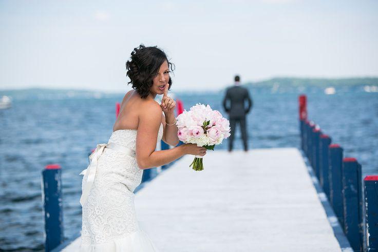 First look #peonybouquet #firstlook #pier #lakewedding #lakegeneva