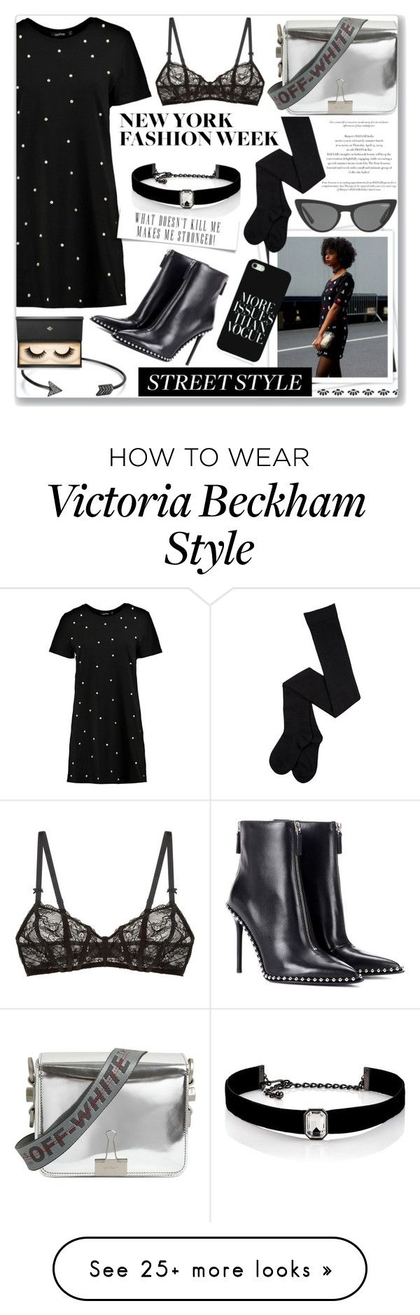 """""""Snap It - NYFW Street Style: 13/09/17"""" by pinky-chocolatte on Polyvore featuring Boohoo, GALA, Bling Jewelry, Off-White, Kenneth Jay Lane, Alexander Wang, Lash Star Beauty, Free People, Victoria, Victoria Beckham and StreetStyle"""