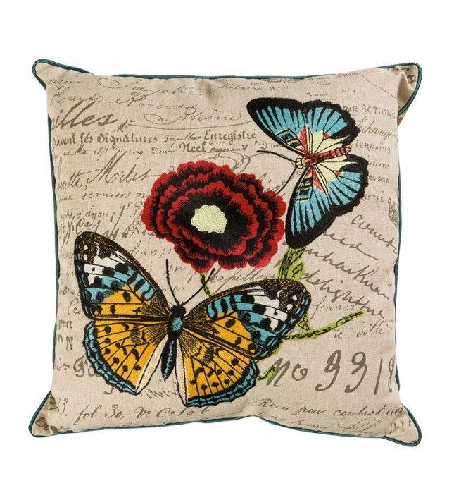 Evimde dört mevsim bahar olsun, diyorsanız çiçek ve kelebek desenli bu keten yastıklar tam size göre!