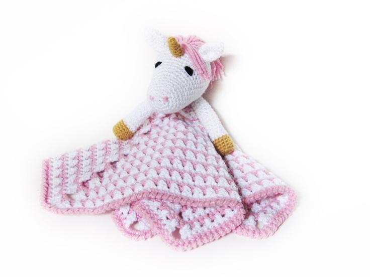 Unicorn Lovey - CROCHET PATTERN - blankey, blankie, security blanket.