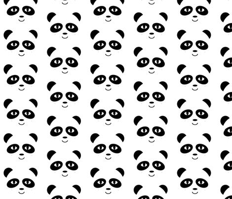 panda black and white fabric by charlottewinter on Spoonflower - custom fabric