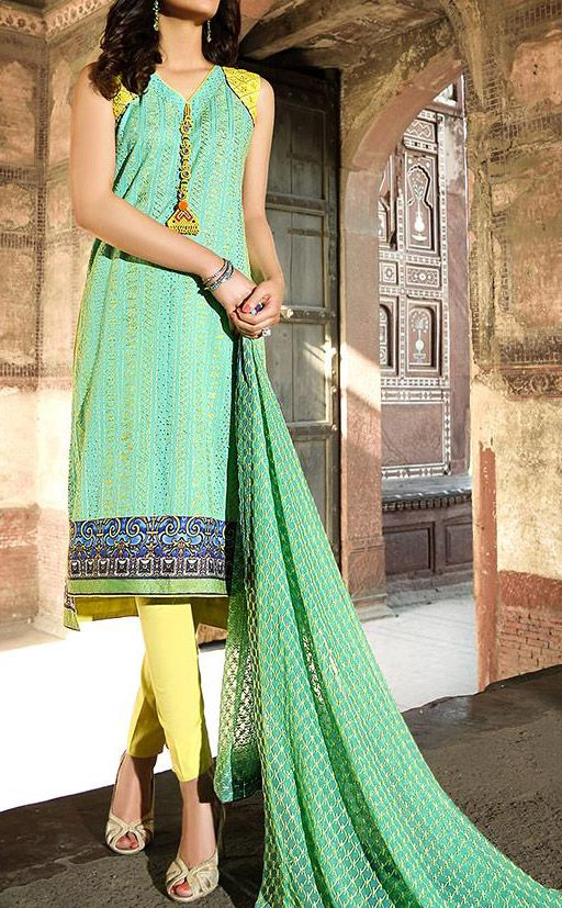 Buy Sea Green Embroidered Cotton Lawn Dress by Zahra Ahmed Eid Collection Collection.