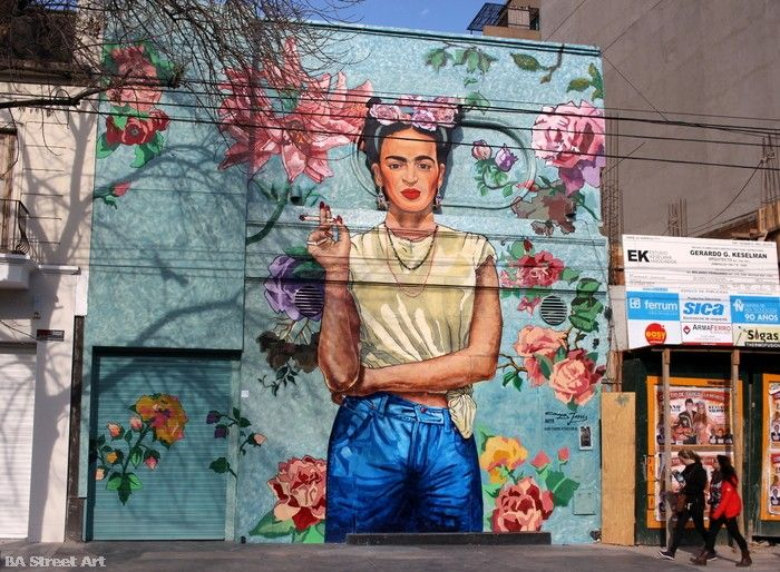 Campos Jesses mural of Frida Kahlo in Buenos Aires