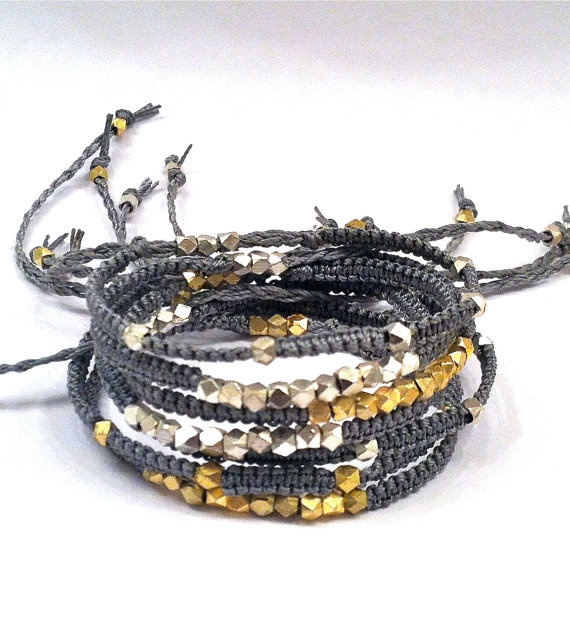 Macrame & Silver Nugget Bracelet / RAVELSHOP