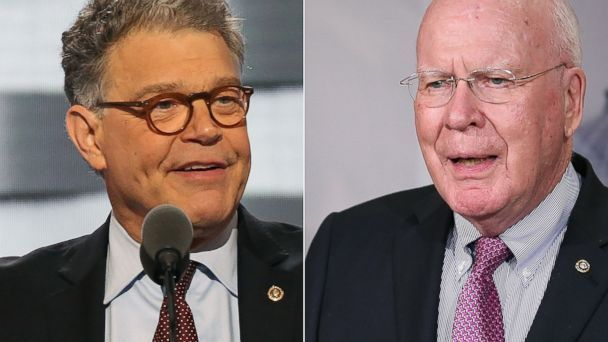 PHOTO: Sen. Al Franken in Philadelphia, July 25, 2016, and Sen. Patrick Leahy at the Capitol, June 2, 2015. (Getty Images)