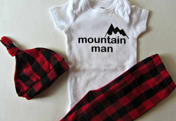 An adorable gift set for a baby boy! Create a set with a Mountain Man onesie, buffalo plaid leggings and a knit hat. The leggings and hat are made