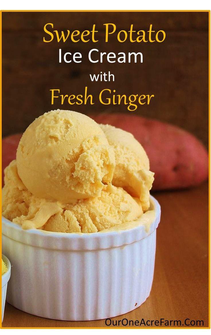 Sweet Potato Ginger Ice Cream - | Ginger Ice Cream, Potatoes and Ice