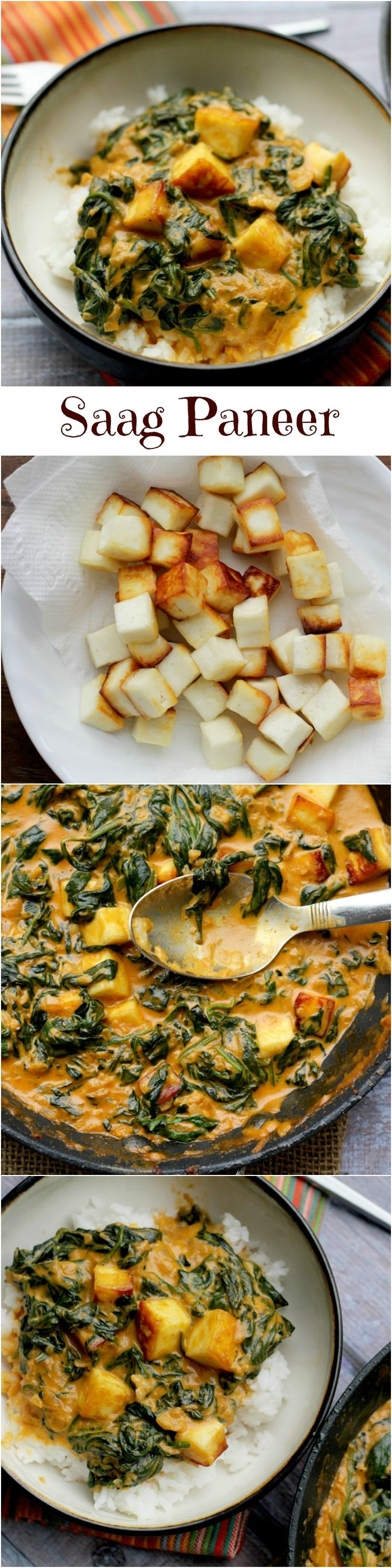 Saag paneer is a classic north Indian dish that is made up of fried paneer cheese and a creamy spinach sauce. You can find on just about any Indian restaurant menu, but it has way better flavor when you make it at home.