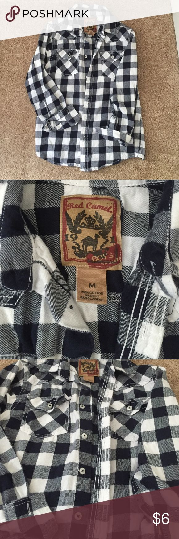 BOYS M 10/12 Red Camel shirt never worn NEVER WORN... M10/12 it's not really a flannel... Could be worn any season... Super cute Shirts & Tops Button Down Shirts