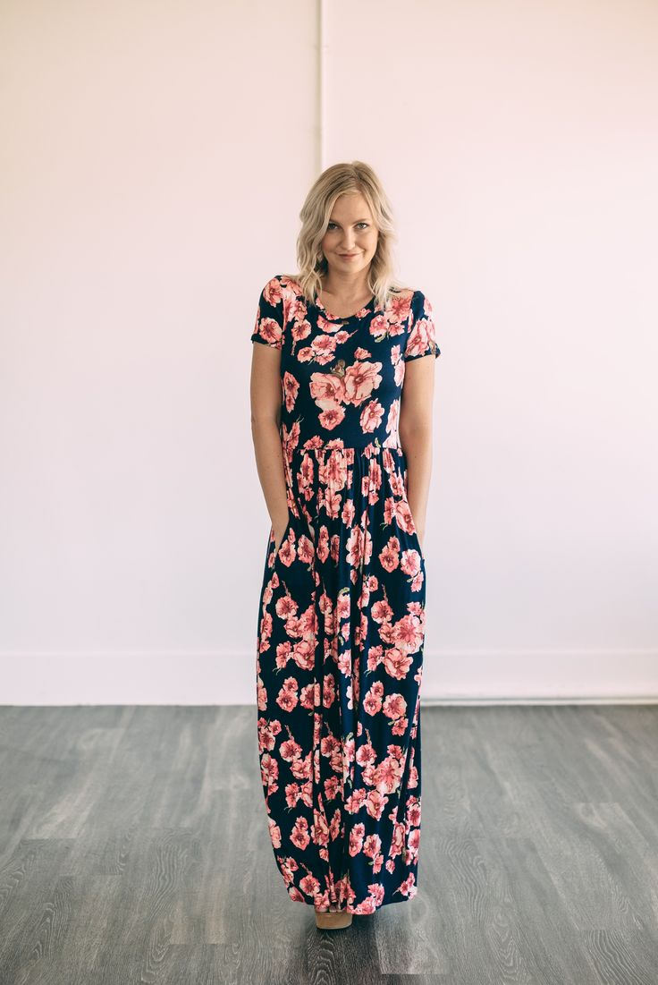 The Sia Floral Maxi in Navy