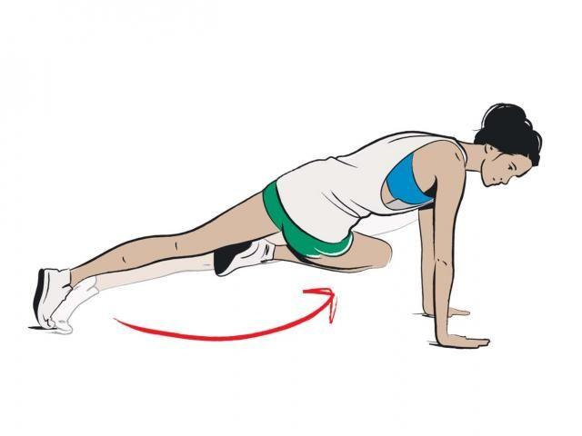 Full Body Shred - mountain climbers. Do for 30 seconds; 30 seconds rest; repeat 3 times.