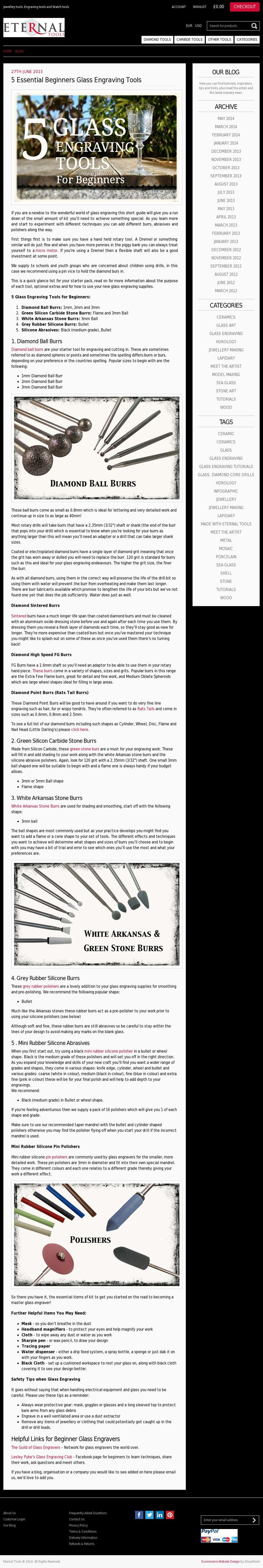 *** 5 GLASS ENGRAVING TOOLS FOR BEGINNERS*** This article tells you the essential bits of kit you'll need to start you off glass engraving using the drill technique. Find some glass, pick up your Dremel drill and order these few inexpensive bits of kit and you'll be on your way to being part of a wonderful craft. Diamond Burs, Polishers, White Arkansas and green stones....