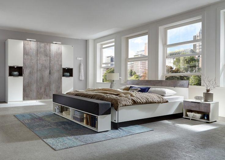 Schlafzimmer komplett Cargo Weiß Betonoptik 10333 Buy now at - schlafzimmer komplett weiß