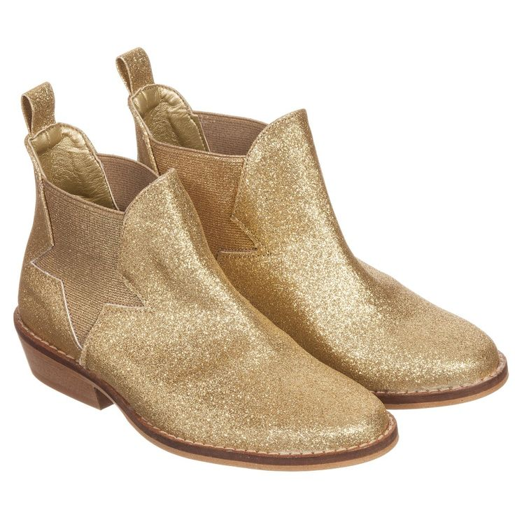 Stella McCartney Kids Girls Gold Glitter 'Lily' Chelsea Boots at Childrensalon.com