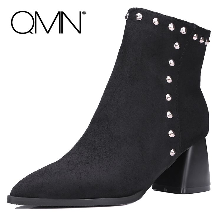 36.88$  Buy here - http://ai12p.worlditems.win/all/product.php?id=32792556921 - QMN women studded flock ankle boots for Women Pointed Toe Western Boots Shoes Woman Bootie Botas Femininas Size 34-43