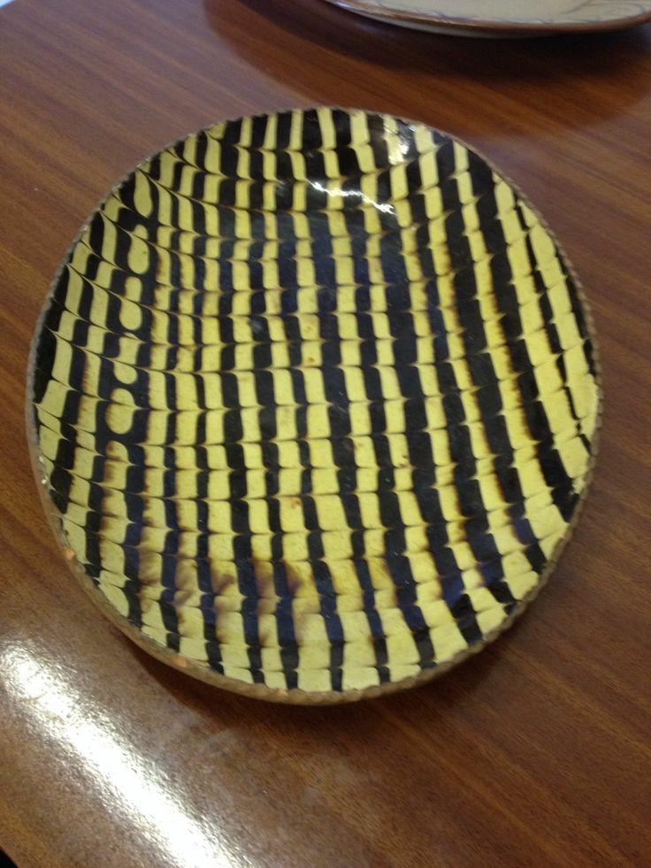 combed slipware dish