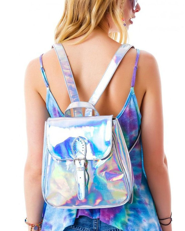 Zicac Silver Hologram Street Backpack Laser Reflective Mirror Surface Satchel * You can get more details by clicking on the image. (This is an Amazon Affiliate link and I receive a commission for the sales)