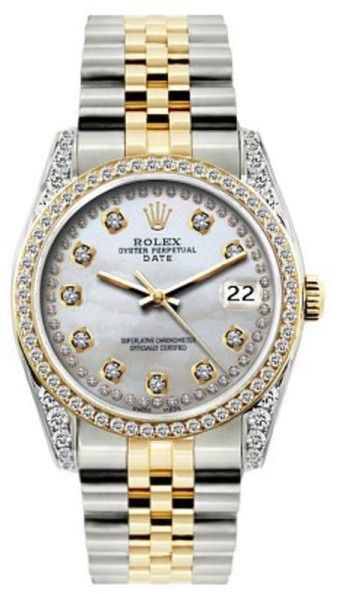 Rolex Date 18K Yellow Gold & Stainless Steel MOP & Diamond 34mm Watch