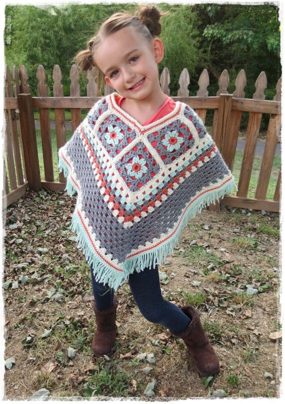 Girls Flower Poncho-Kids-Fall Fashion-Crochet Granny Square-Fringe-Ages 5-8