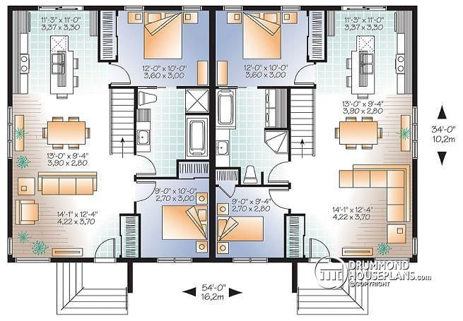 1st level Contemporary multi-family home with 2 bedrooms, kitchen island, unfinished basement - Ambrose 3