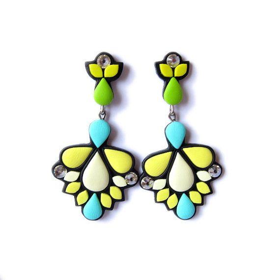 Diamantes de imitación gemas pendientes, pendientes de la gran declaración, declaración neón, menta verdes claros amarillo brillantes pendientes, polímero arcilla