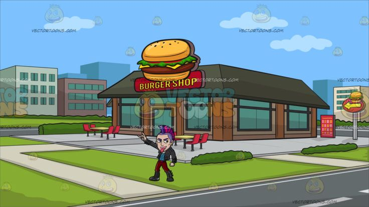 A Stylish Punk Rocker Sticking His Tongue Out At Outside A Burger Shop :  A man with purple and pink mohawk hair and eyebrows wearing a black punk jacket teal shirt black belt and boots red pants parts his lips to show his pink pierced tongue as he raises his right hand gesturing a rock on sign. Set in a view from outside the burger shop with dark green roofing brown walls green glass windows and door red chairs and table outside a shop sign paved by a gray walkway and green grass in the…