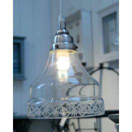Ib Laursen Hængelampe i glas med slebet glaskant