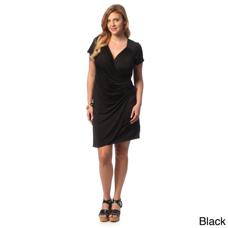 24/7 Comfort Apparel Women's Plus Size Faux Wrap Knee-length Dress   Overstock.com Shopping - Top Rated 24/7 Comfort Apparel Dresses
