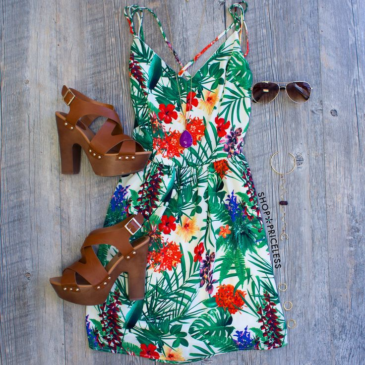 Maui Tropical Dress - I would wear it with Haivana's & a straw hat