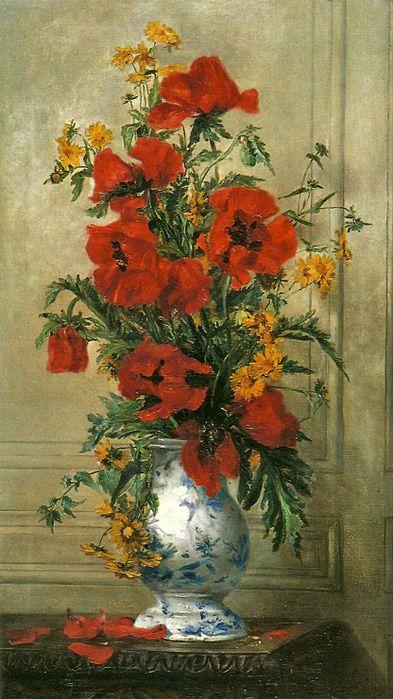 """Jenny Villebasseyx, née Roche (French, b. 1854) - """"Vase De Coquelicots"""""""